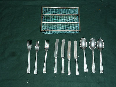 Vntg 11pc Pretend Alumin Cuttlery and Basket 3 Spoons, 3 Forks 4 Knives Germany