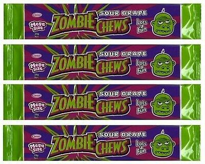 BULK LOLLIES 30 x ZOMBIE CHEWS SOUR GRAPE MEGA SIZE PARTY FAVOR LOLLY BAGS