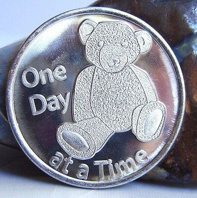 Alcoholics Anonymous AA Aluminum Medallion  one day at a time teddy bear Token