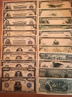 Copy Reproduction 1918 11 Piece FRN Set US Currency Note $1-$10,000