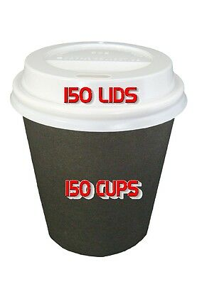 150 Sets 6oz Black Single Wall Paper Coffee Cups And Lids 177ml Disposable