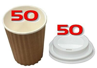 100 Pieces 12oz BROWN 350ml Ripple Double Wall Paper Coffee Cups And Lids