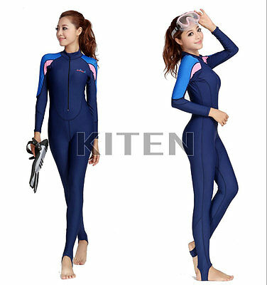Women's Full Scuba & Snorkeling Suit Wet Suit Scuba Diving Suit Blue and Pink