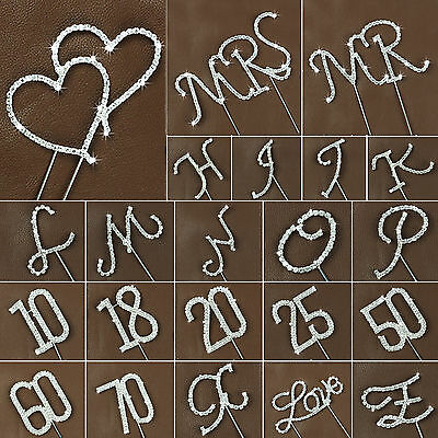 Crystal Letter & Number Monogram Wedding Birthday Anniversary Cake Toppers Decor