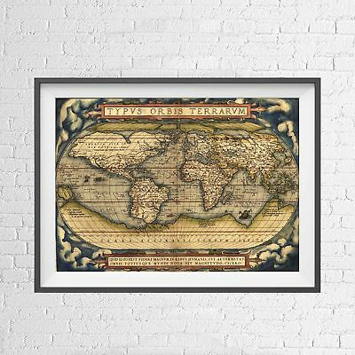 TYPUS ORBIS TERRANUM 1570 WORLD MAP POSTER PICTURE PRINT Size A5 to A0 **NEW**