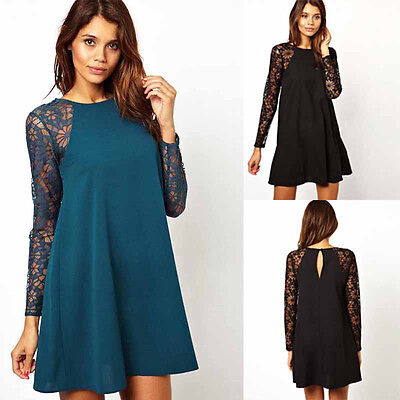 Womens Long Sleeve Summer Lace Dress Round Neck  Loose Pregnant Dresses Chiffon