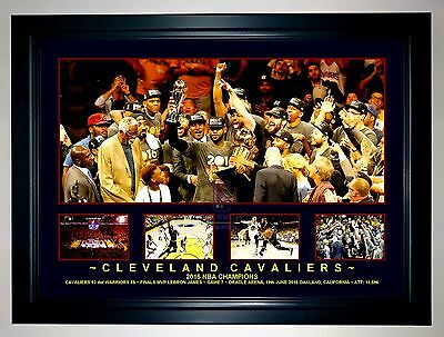 CLEVELAND CAVALIERS 2016 NBA CHAMPIONS LEBRON JAMES MVP A3 Framed Photo Collage