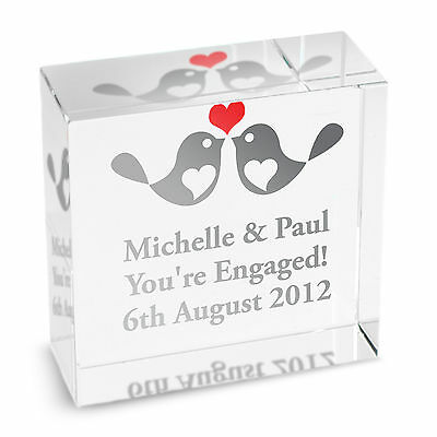 Personalised GLASS BLOCK - LOVE BIRDS - ENGAGEMENT, WEDDING, ANNIVERSARY GIFT