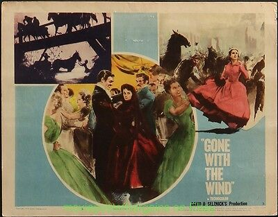 GONE WITH THE WIND LOBBY CARD size 11x14 Movie Poster 5 Card's R1954 CLARK GABLE