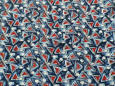 Retro Polyester Crepe Dress Making Fabric Red White Blue Abstract Geometric