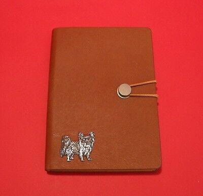 Papillon Dog A6 Tan Soft Touch Journal Notebook Father Mothers Christmas Gift