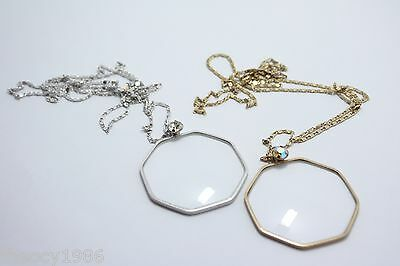 Lesbro Vintage Pendant Magnifier Monocle Neck Chain Necklace Costume JEWELRY