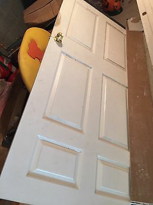 "36""x77"" 6 Panels Interior White Paint, 1-1/2"" Thick, Used"
