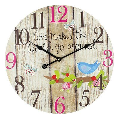 Wall Clock - ' Love Makes The World Go Around ' Wood Effect & Bird (40cm)