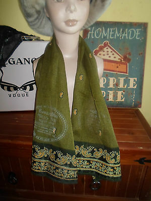 1 NEW Colourful Mixed Fibre Ladies Scarf SAGE GREEN ~ Xmas Gift Idea  #75
