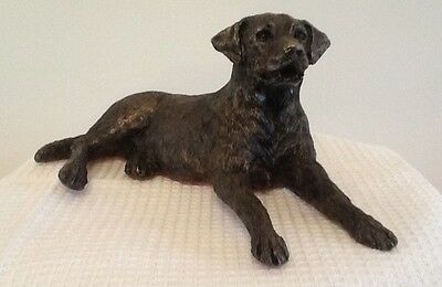 Frith Sculpture Edward the 'Labrador dog lying' in cold cast bronze - MK005