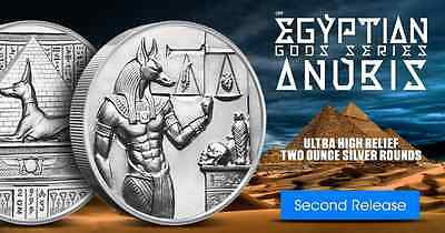 Egyptian Gods Series Anubis Ultra High Relief 2 oz .999 Silver BU Round USA Coin