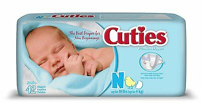 Cuties Diaper, Newborn, Heavy Absorbency, Disposable, CR0001 - Pack of 42
