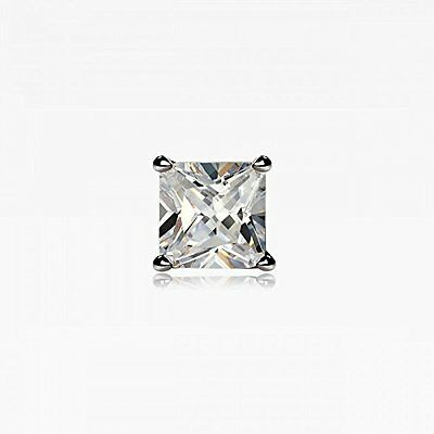 fa01da0e63e33 STERLING SILVER SQUARE CZ Crystal Mens Ear Stud SINGLE Earring For MEN  4mm-10mm