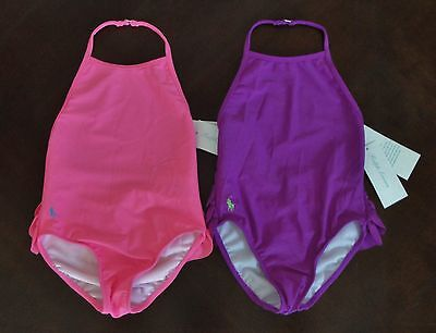 NWT Ralph Lauren Infant Ruffled Bottom Pink 1pc One-Piece Swim Suit Sz 12m NEW