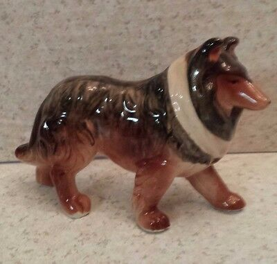 VINTAGE COLLIE FIGURINE Made in Japan TRI-COLORED DOG STATUE Standing Puppy Dog