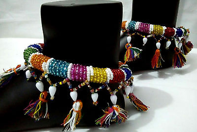 VINTAGE Kuchi Tribal 2 PC ANKLET BELLY DANCE Jewelry Afghan Rabari Banjara Beads