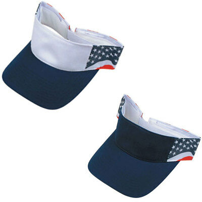 1 DOZEN USA Patriotic American Flag Stars Cotton Visors WHOLESALE LOT BULK