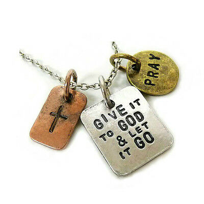 *uk* Antique Silver Plt 'give It To God And Let It Go Pray' Engraved Necklace 18