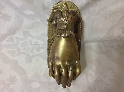 Ea 1900s Victorian Lg Brass Door Knocker feat. The Hand of Esther w/Star David