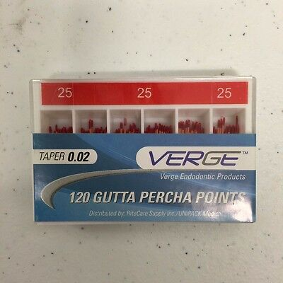 Gutta Percha Points (Qty 120) - # 25, 0.02 Taper - Verge Endo Dental Kit