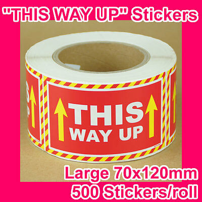 "1000 ""THIS WAY UP"" sticker/label 120mmx70mm GST INCLUDED (2 rolls)"