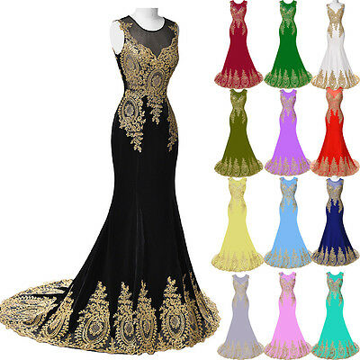 2016 CHEAP Long Bridesmaid Applique Dresses Mermaid Gold WEDDING Ball Gown Prom