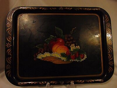 Vintage Tole Painted Serving Tray  Basket of Fruit Beautiful!