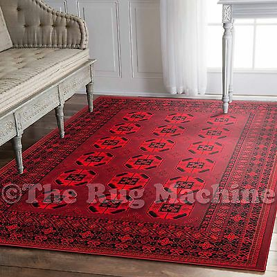 KING RED AFGHAN PERSIAN TRADITIONAL CLASSIC DESIGN FLOOR RUG 160x220cm **NEW**