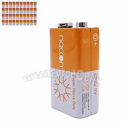 40 pcs 9V Volt Super Heavy Duty Carbon-Zinc Battery Cell 6F22 Block Naccon