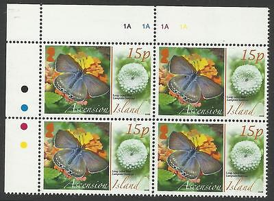 Ascension 2008 Animals Eggs Blue Butterfly Top Left Corner Block Of Four Mnh