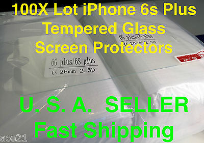 "100X Wholesale Lot iPhone 6s Plus 5.5"" Tempered Glass Screen Protector for Apple"