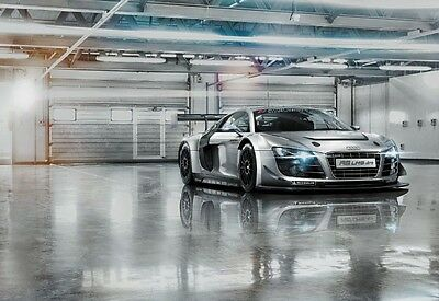 GIANT WALL MURAL FOR LIVING ROOM BOYS ROOM & BEDROOM Audi R8 Sports Car - Silver