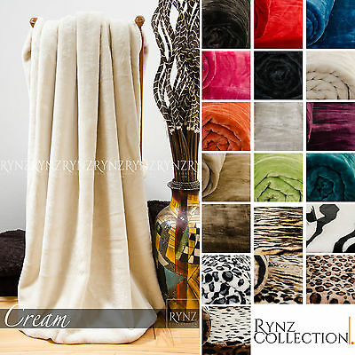 New Luxury Soft Faux Fur Mink Throw, Sofa / Bed Blanket - Large, Extra Large
