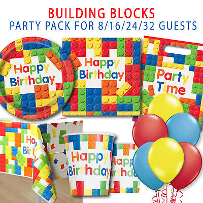 Party Supplies Birthday Boys Block Lego Inspired Pack Plates Cups 52 Pieces