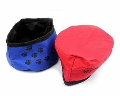 Pet Dog Cat Bowl Travel Water Bowl Food Fold Up Portable Travel Waterproof, NEW