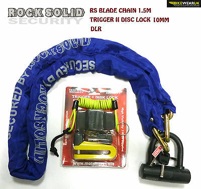 Rs Blade Chain 1.5M + Trigger Ii 10Mm Disc Lock + Dlr For Motorbike Motorcycle