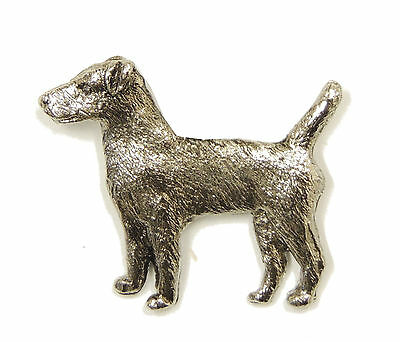 Patterdale Terrier Brooch, Silver Plated