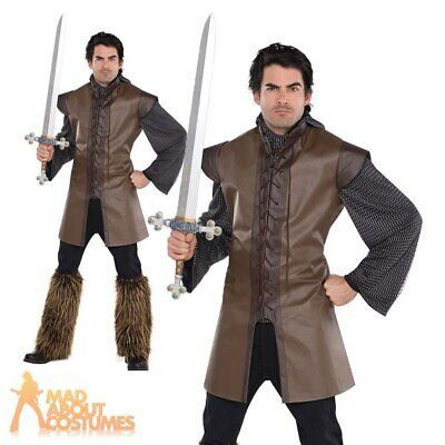 Adult Medieval Warrior Tunic Costume Mens Viking Fancy Dress Outfit New