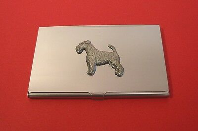 Airedale Pewter Motif Chrome Plated Card Holder Fathers Day Useful Gift