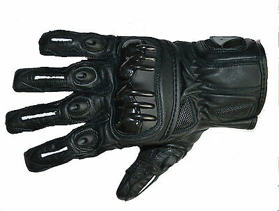 Summer Reinforced Leather Motorcycle Motorbike Carbon Knuckles Gloves