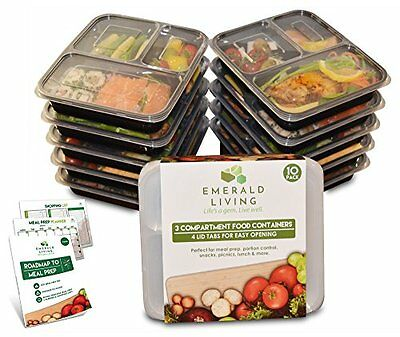 |10 pack| 3 Compartment meal prep food containers Bento box Tupperware set with