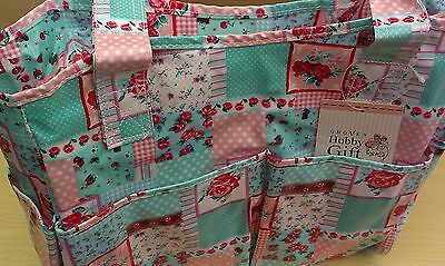BNWT-Hobby Gift-Pink/Turquoise Patchwork Design-PVC-Knittiing/Project/Craft Bag