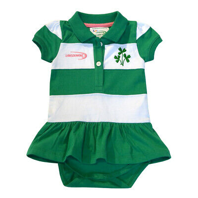 Green And White St. Patrick's Day Striped Baby Dress Vest With Shamrock Design