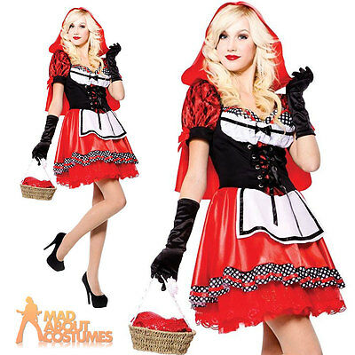 Adult Red Riding Hood Sweetie Costume Ladies Fairytale Fancy Dress Outfit New
